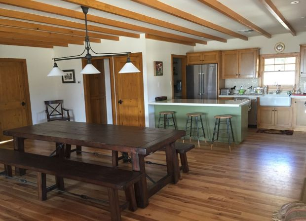 view after renovation to dining and kitchen area