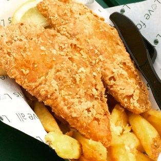 Very good fish and chips. Crunchy outside, tender and hot inside.