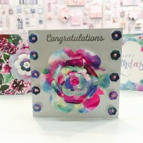 Floral card made using Trimcraft First Edition wild flower papers and dies
