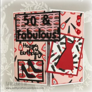 Handmade card using the Dovecraft Kiss and Makeup collection - 50 and fabulous!