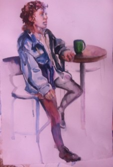 """Cafe"" Watercolor 22x15"" $195"