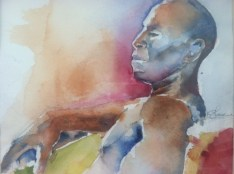 """""""Concentrating"""" Watercolor 11x15"""" $175"""