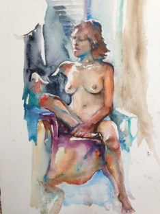 """""""Wrapped in Turquois"""" Watercolor 22x15"""" $275"""