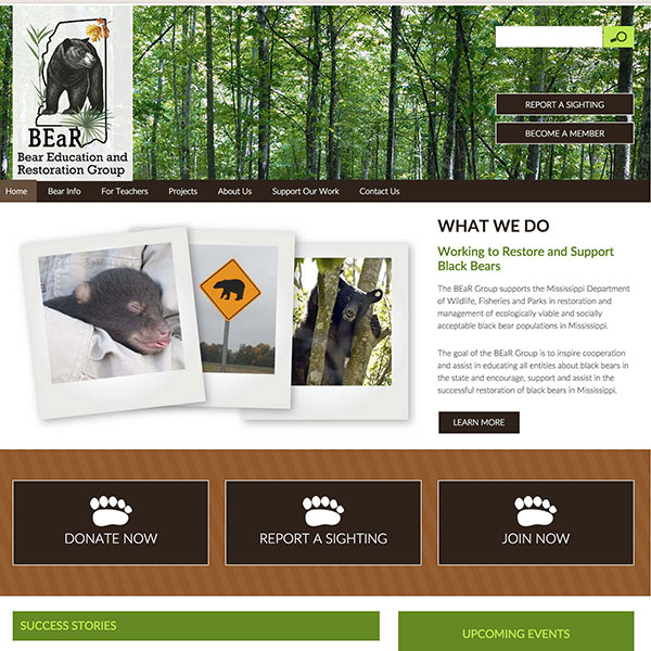 Bear Education and Restoration Group of Mississippi Website
