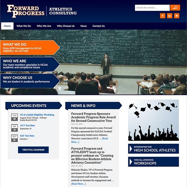 Forward Progress Athletics Consulting Website