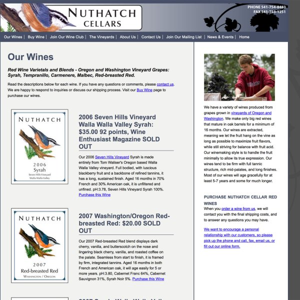Website for Nuthatch Cellars Winery