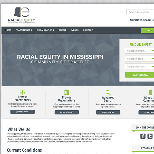 Website for Mississippi Racial Equity Community of Practice