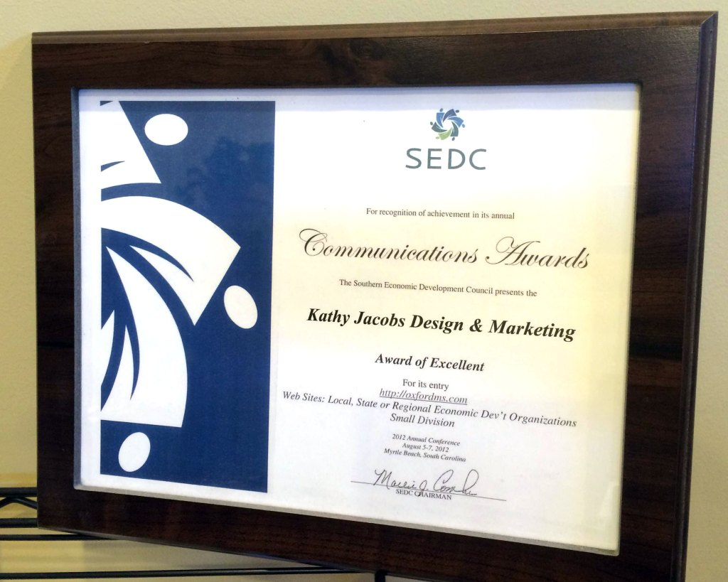 SEDC Award of Excellent - Kathy Jacobs Design & Marketing