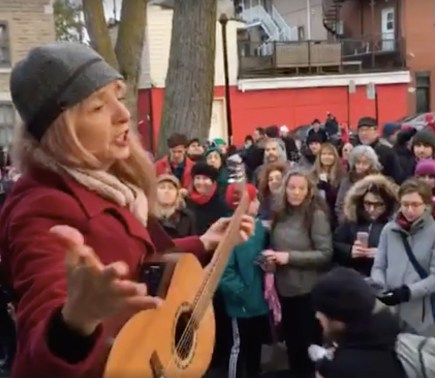 Leading hundreds of singers outside of Leonard Cohen's home, Nov. 12, 2016