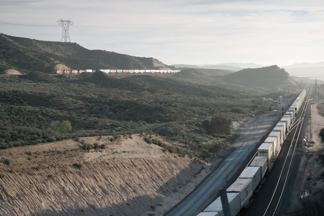 Two trains at Cajon Pass