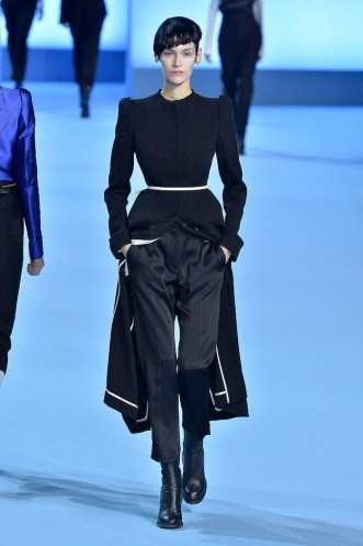 PARIS, FRANCE - MARCH 04: A model walks the runway at the Haider Ackermann Autumn Winter 2017 fashion show during Paris Fashion Week on March 4, 2017 in Paris, France. (Photo by Catwalking/Getty Images)