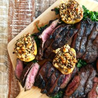 Gorgonzola, Nut & Herb Roasted Apples With Balsamic Marinated Steak