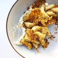 Oven Fried Artichoke Hearts With Creamy Feta Spread