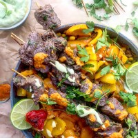 Steak & Fajita Veggie Kebabs With Mexican-Style Rice & Scotch Bonnet Pepper Sauce