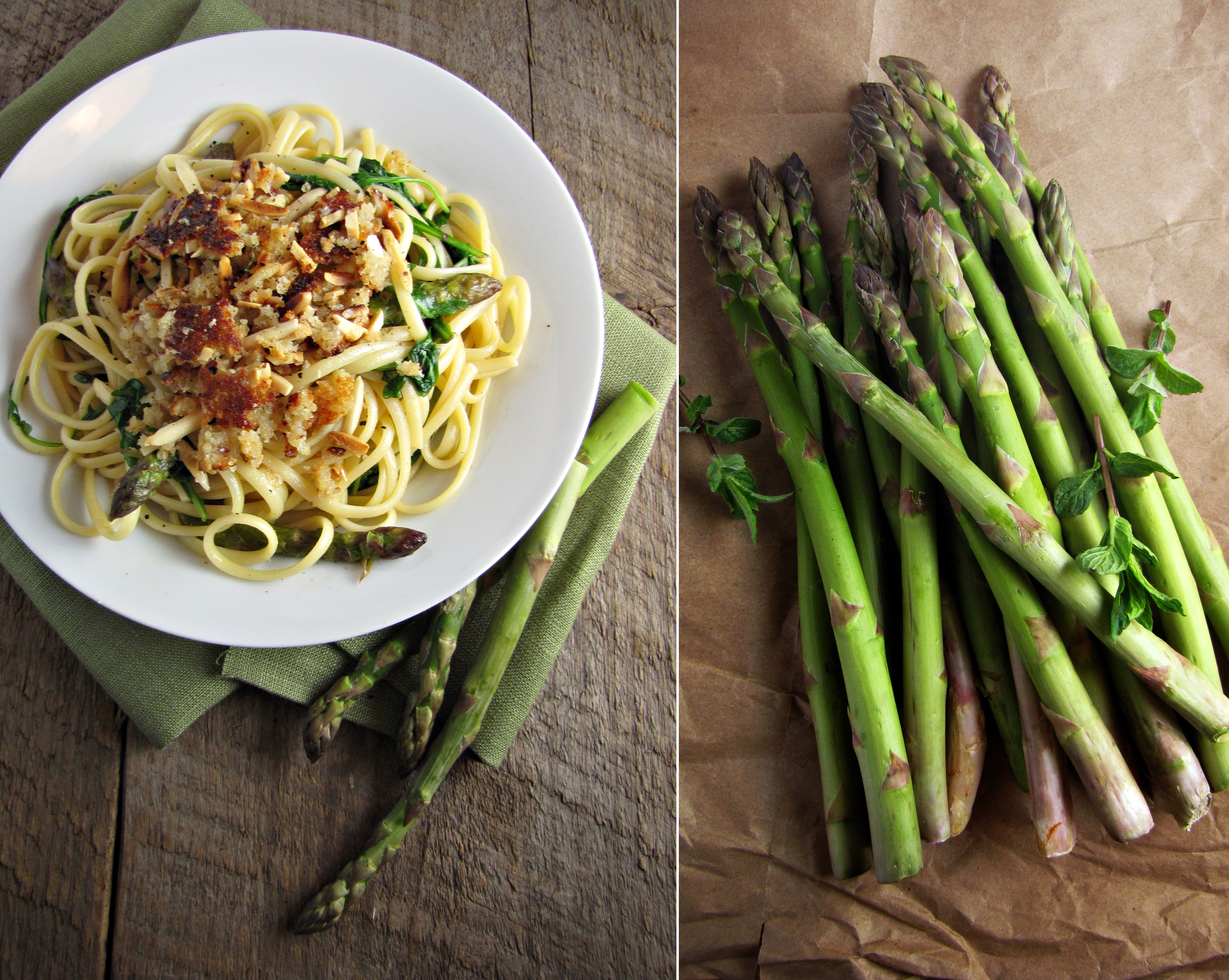 Asparagus and arugula pasta with almond parmesan crumble katie what better way to dive back into cooking than to test out some of the borrowed cookbooks and decide if theyre worth permanently adding to my collection ccuart Image collections