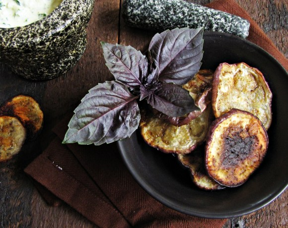 Greatist Collaboration: Garlicky Eggplant Chips with Basil Yogurt Sauce