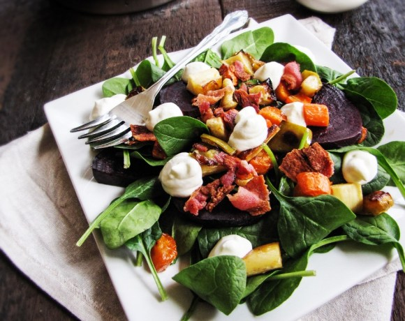 March Fitness Challenge // Roast Vegetable Salad with Goat Cheese Mousse