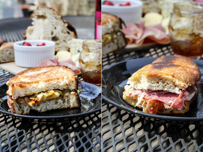 Two Paninis - Grilled Cheese with Caramelized Onions and Blue Cheese, and Fig Jam, Goat Cheese, Prosciutto