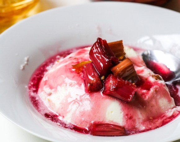 Ricotta Bavarese with Red-Wine Poached Rhubarb