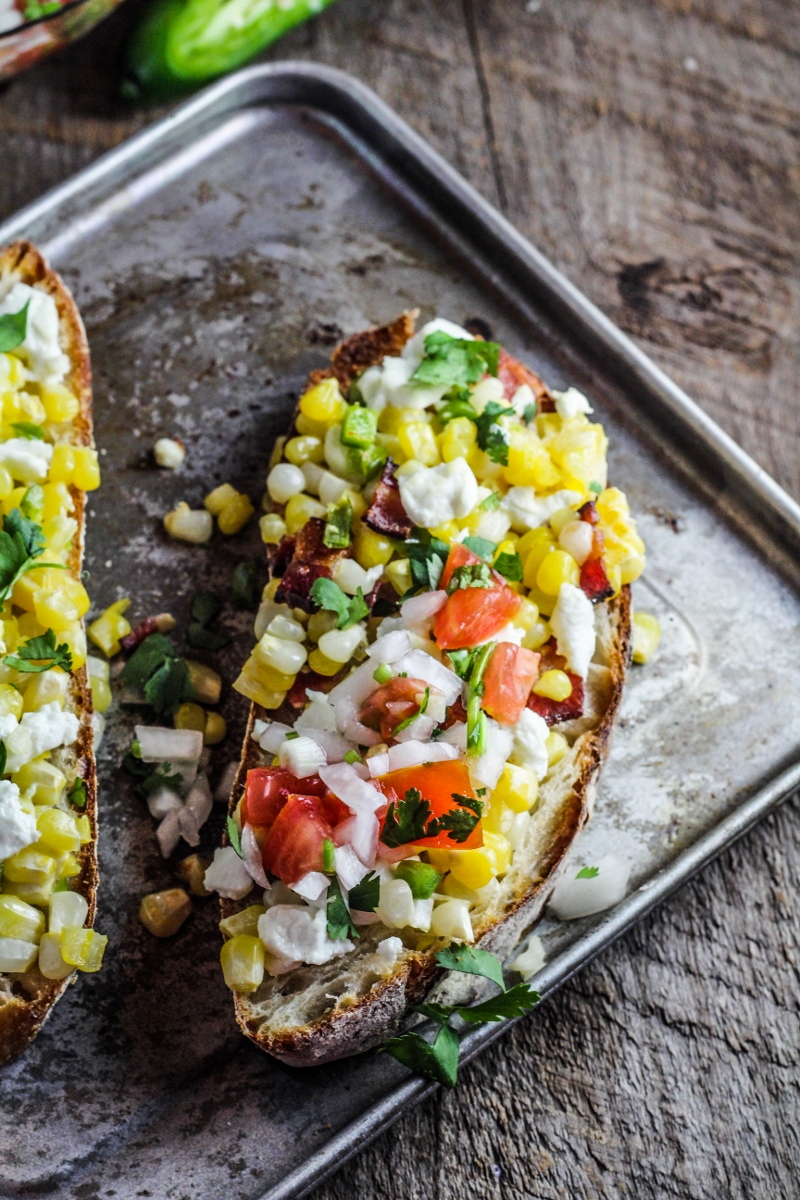Corn, Goat Cheese, and Jalapeno Tartine {Katie at the Kitchen Door}