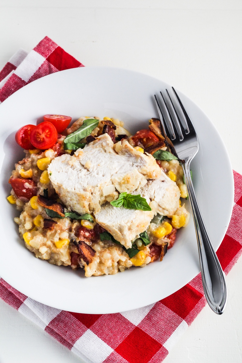 Creamy Summer Chicken with Corn, Tomatoes, Bacon and Couscous {Katie at the Kitchen Door}