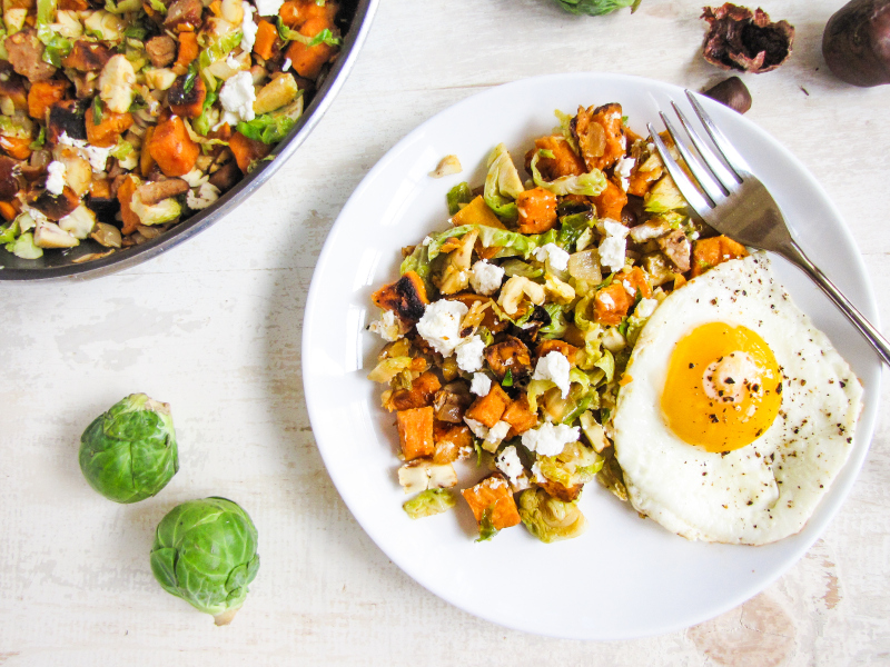 15 Favorite Fall Recipes - Brussels Sprout, Sweet Potato, and Chorizo Hash