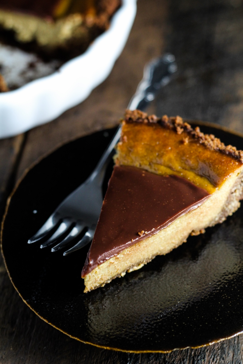 Pumpkin and Milk-Chocolate Pie with a Gingersnap Crust {Katie at the Kitchen Door}