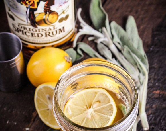 Captain's Table Challenge with Captain Morgan // Meyer Lemon and Sage Hot Toddy