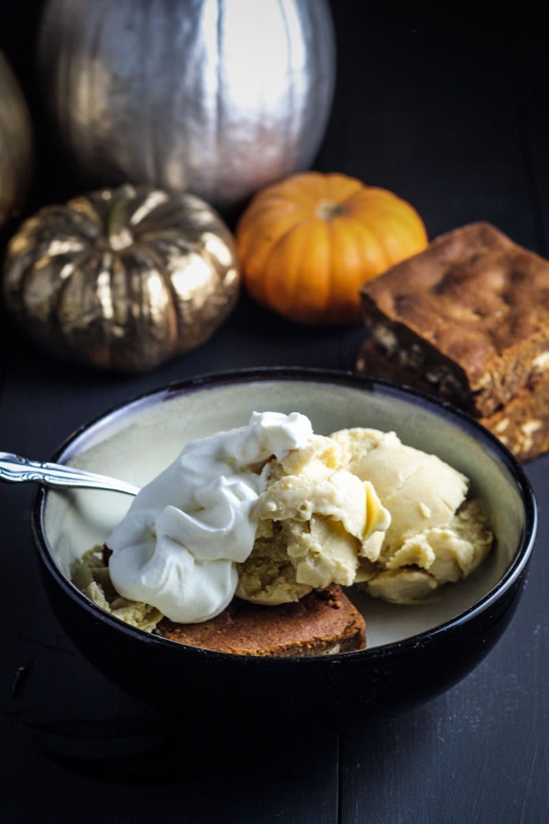 Pumpkin Ice Cream Sundae - Gingerbread Blondie, Pumpkin-Maple Ice Cream, Caramel Sauce, Whipped Cream {Katie at the Kitchen Door}