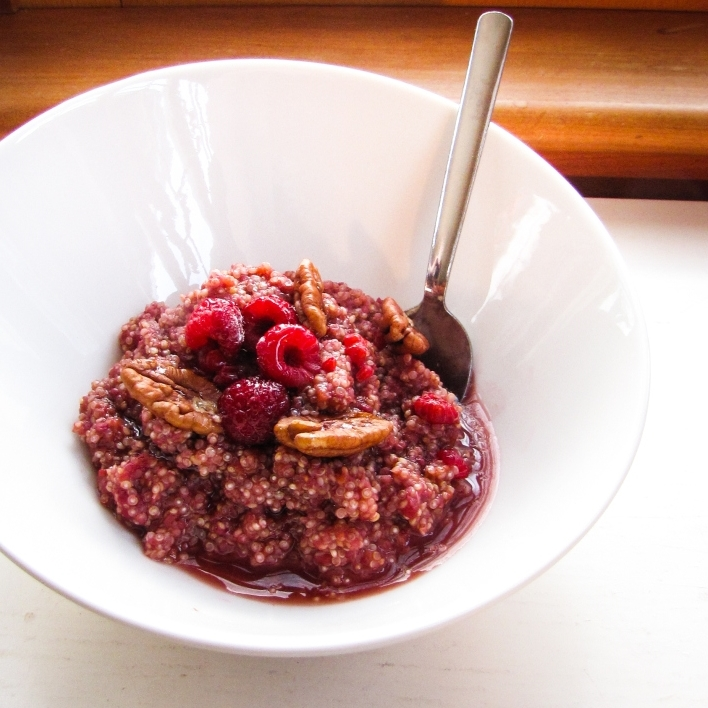 Winter Cleanse 2014: Healthy Breakfast Recipes - Raspberry-Maple Breakfast Quinoa {Katie at the Kitchen Door}