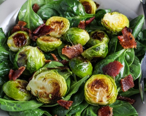 Roasted Brussels Sprout and Bacon Salad with Avocado Vinaigrette