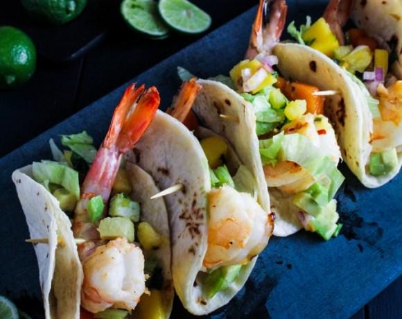 Captain's Table Superbowl // Mini Rum-Glazed Shrimp Tacos with Boozy Tropical Salsa