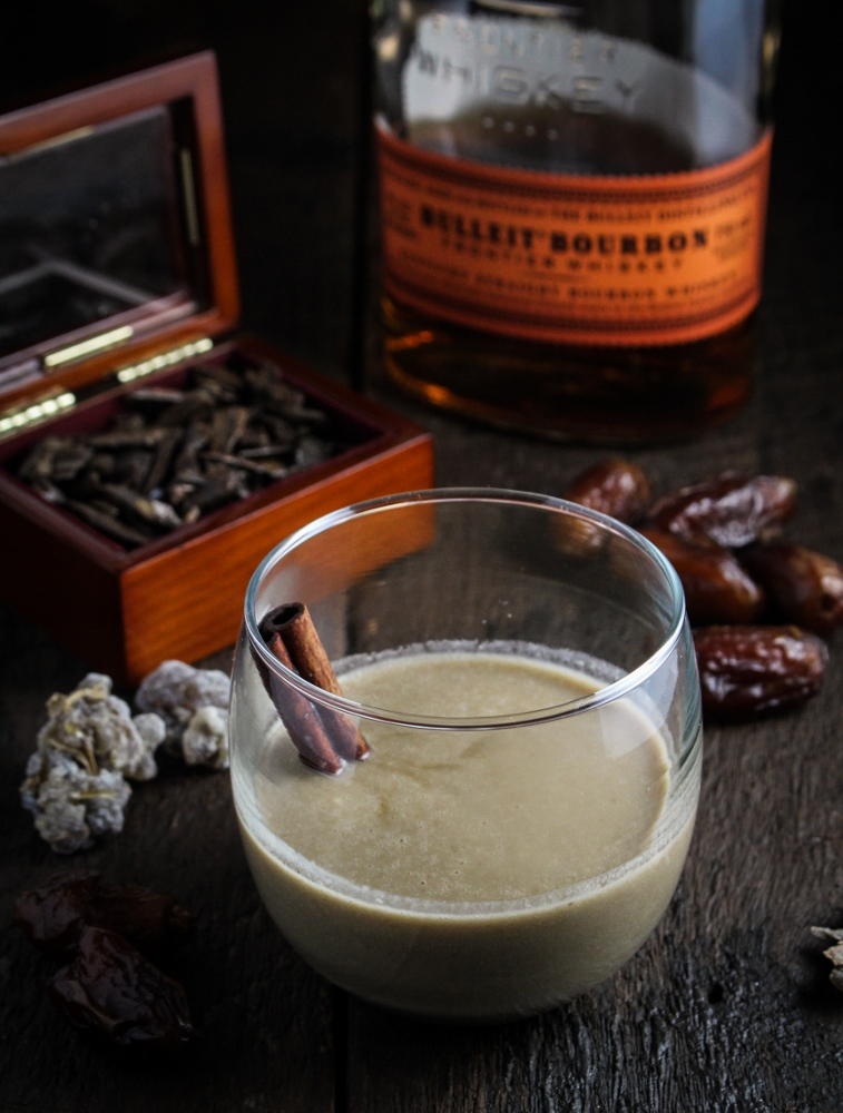 12 Festive Winter Cocktails  - 1,001 Kentucky Nights - Dates, Coconut Milk, Bourbon, and Rum {Katie at the Kitchen Door}
