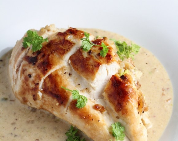 Book Club: Hungry for France // Pistachio-Stuffed Chicken Breasts with Parmesan Cream Sauce