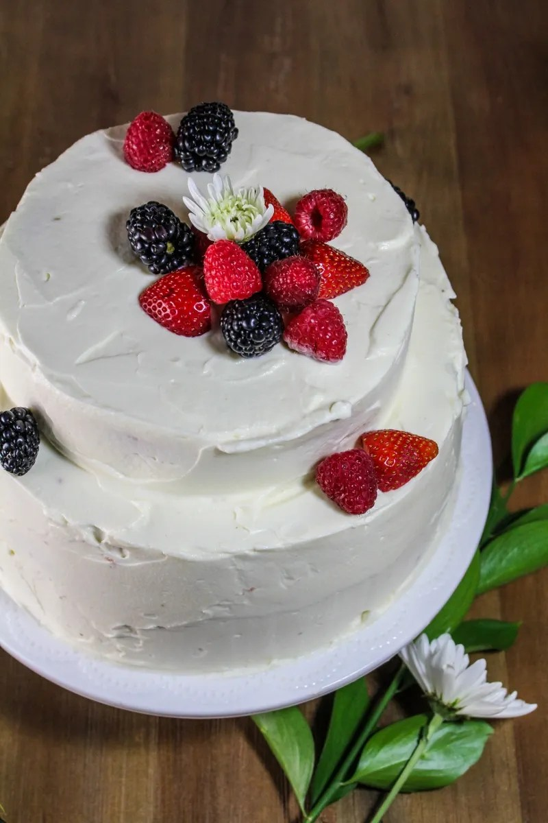 Angel Food Layer Cake with Whipped Cream Cheese Frosting {Katie at the Kitchen Door}