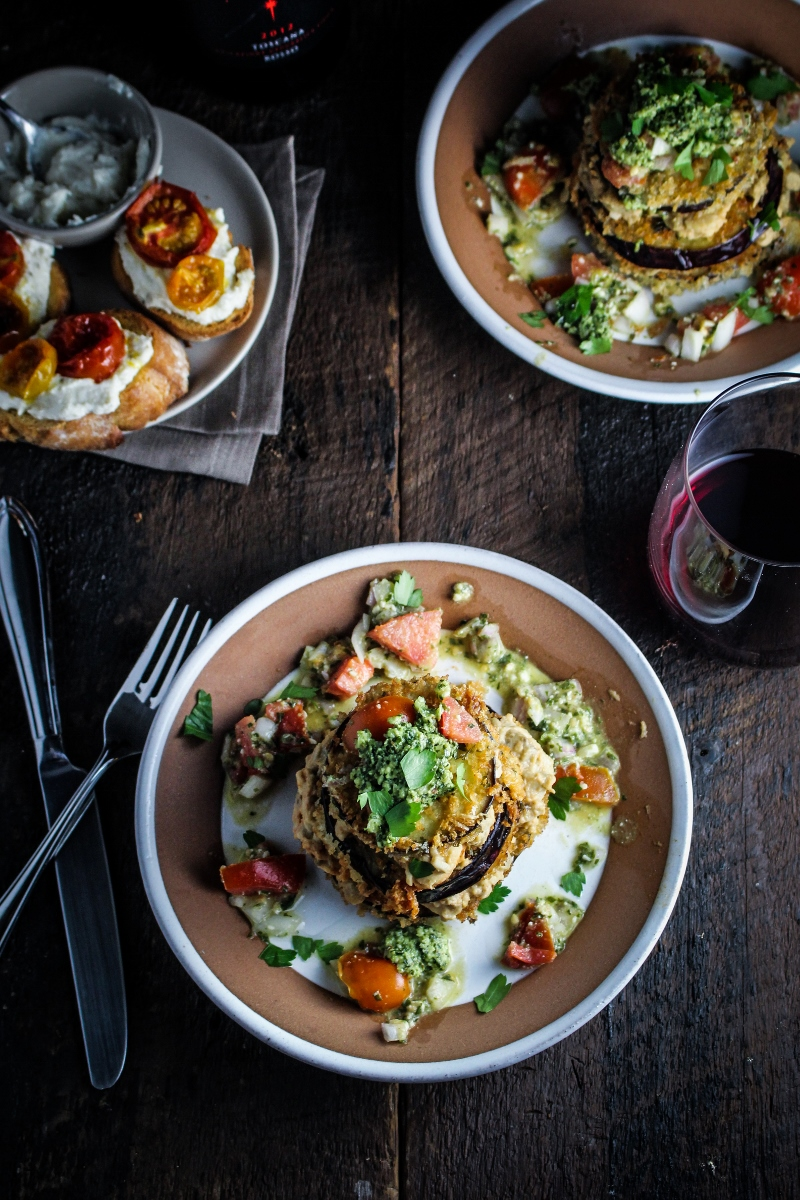 Sunday Dinner: Cherry Tomato and Ricotta Crostini and Eggplant Napoleons {Katie at the Kitchen Door}