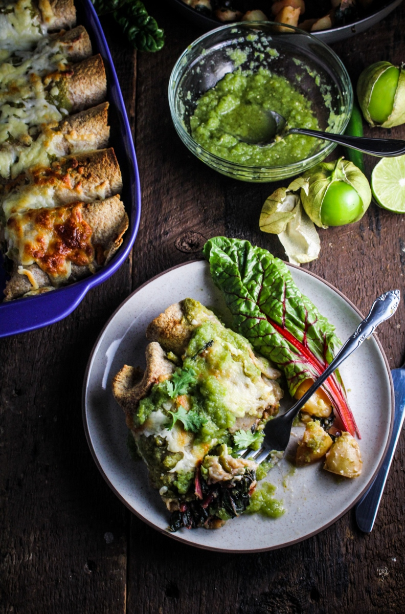 Potato, Poblano, and Chard Enchiladas with Salsa Verde {Katie at the Kitchen Door}