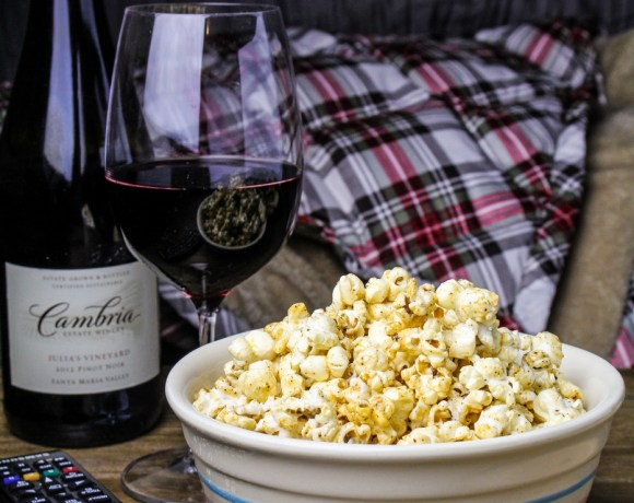 Movie Night with Cambria Wines: Chicken-Broccoli Alfredo Pizza and Maple-Chili Popcorn