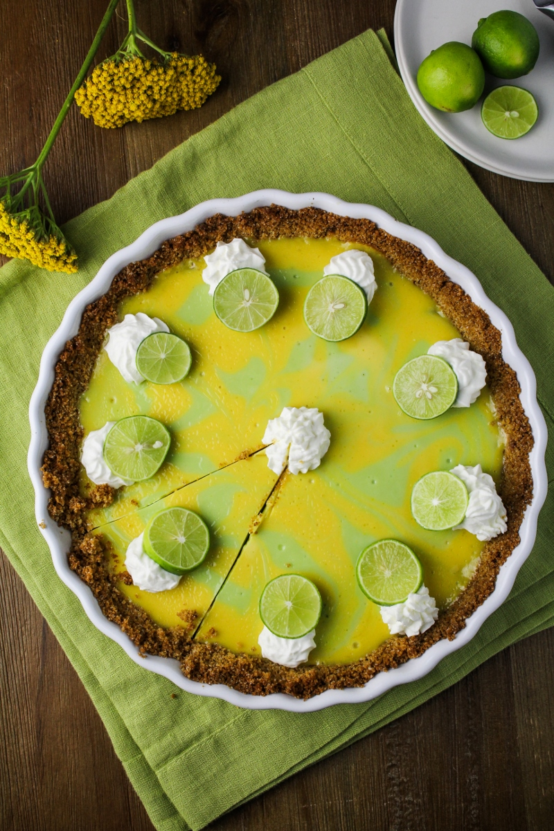 Key Lime and Meyer Lemon Swirl Pie {Katie at the Kitchen Door}