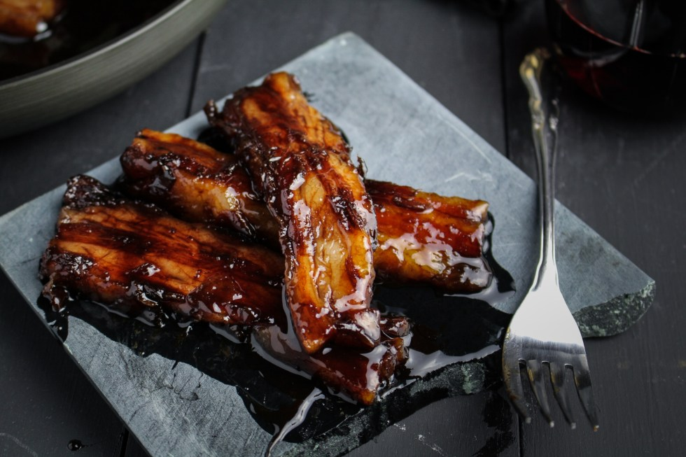 Red-Wine Caramelized Pork Belly {Katie at the Kitchen Door}