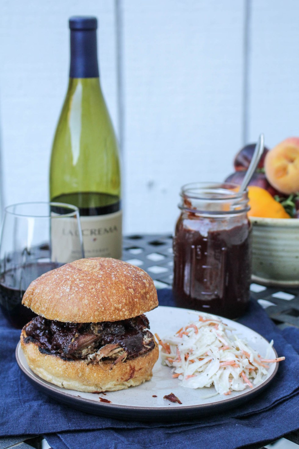 Pulled Pork with Blackberry Pinot BBQ Sauce {Katie at the Kitchen Door} #lacremastyle #spon