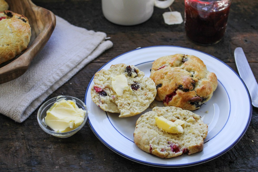 Olive Oil Scones with Red Currants and Sour Cherries {Katie at the Kitchen Door}