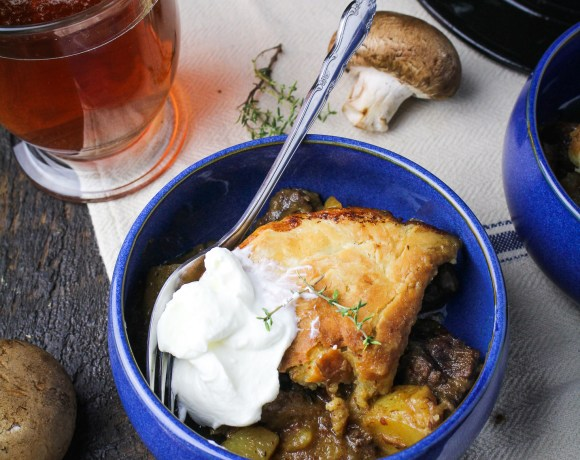 Beef, Mushroom, and Ale Pot Pie with Greek Gods Yogurt