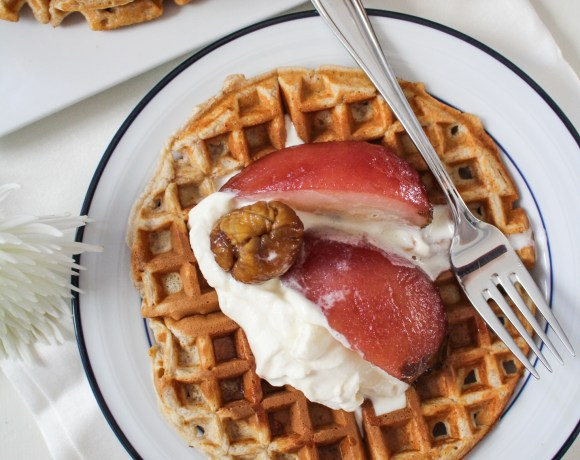 2015 Behind, 2016 Ahead // Brown-Butter Chestnut Waffles with Poached Pears and Whipped Mascarpone