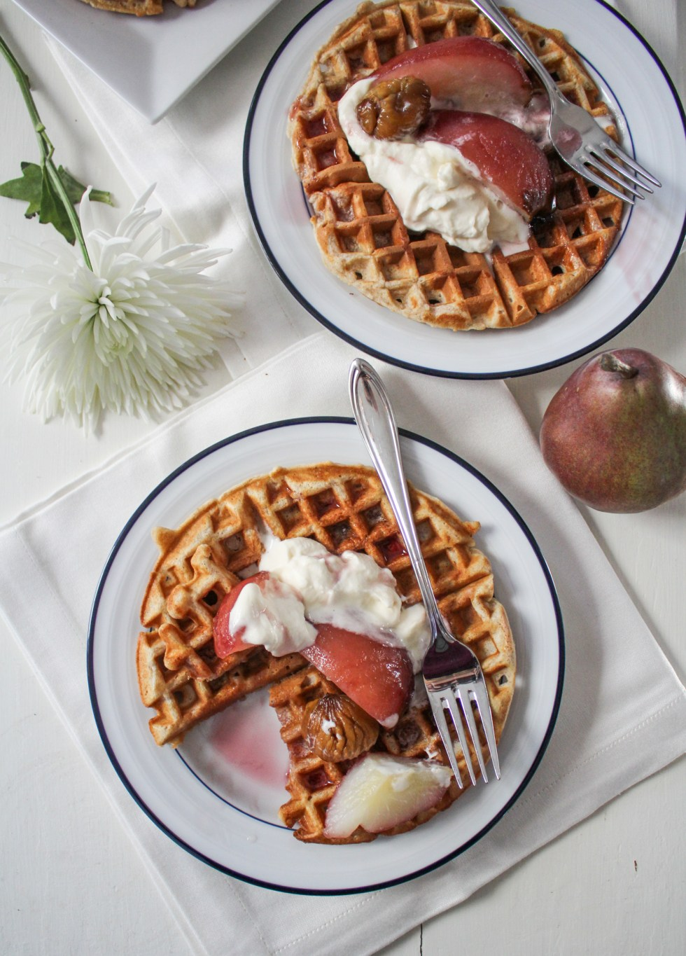Brown-Butter Chestnut Waffles with Poached Pears and Whipped Mascarpone {Katie at the Kitchen Door}