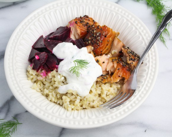 Scandi Salmon Bowl with Pickled Beets and Dilled Sour Cream