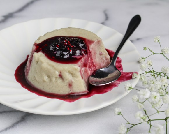 Earth Month Every Cart Counts // Cinnamon Almond Milk Panna Cotta with Berry Sauce