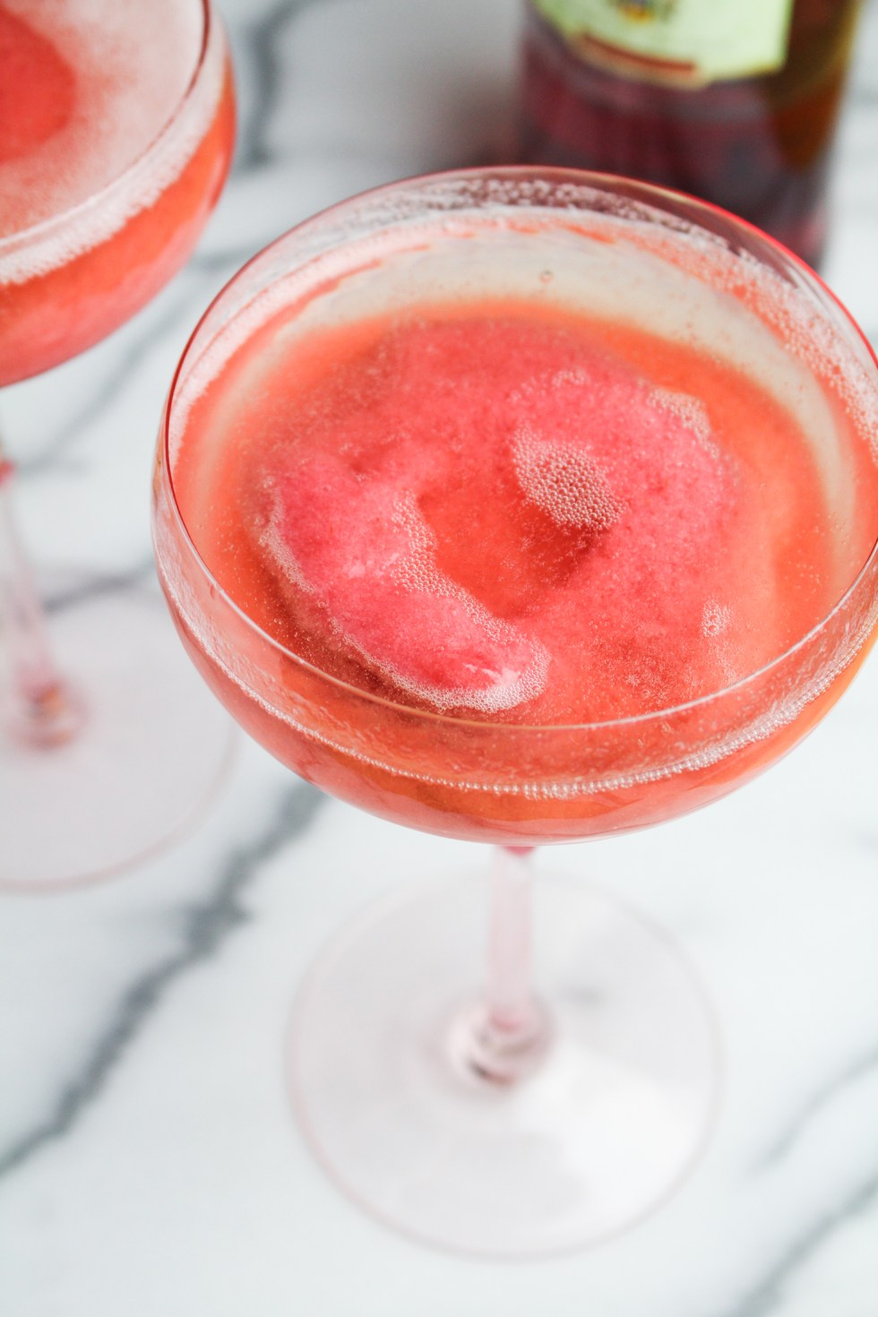 Rhubarb Campari Sorbet with Prosecco {Katie at the Kitchen Door}
