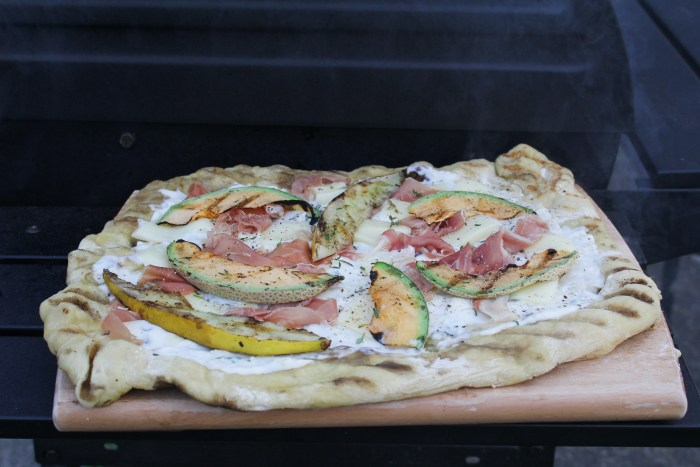 Grilled Melon Pizza with Prosicutto and Burrata {Katie at the Kitchen Door}