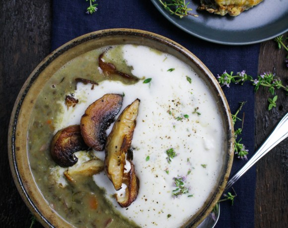 Lentil and Mushroom Soup with Thyme Cream